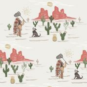 Lewis & Irene To Catch a Dream - 5018 - Dream Catching, Native American Scene on Cream - A170.1 - Cotton Fabric